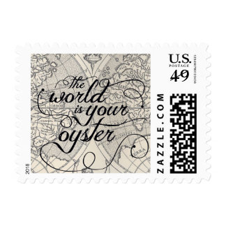 The World Is Your Oyster Vintage Map Typography Postage