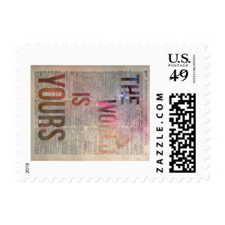 The World is Yours Motivational Quote Postage