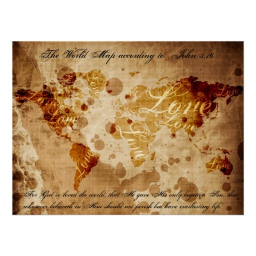 The World Map According to John 3:16 Print
