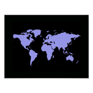 the world map with polkadots - black poster