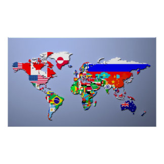 Flag map of the world posters zazzle the world map with their flags poster sciox Choice Image