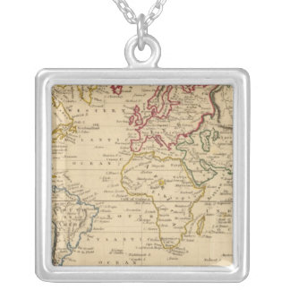 The World, Mercator's Projection Silver Plated Necklace
