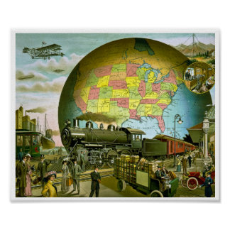 The World of Transportation 1910 Poster