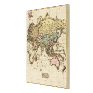 The World on Mercator's projection, eastern part Stretched Canvas Print