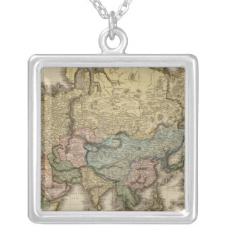 The World on Mercator's projection, eastern part Silver Plated Necklace