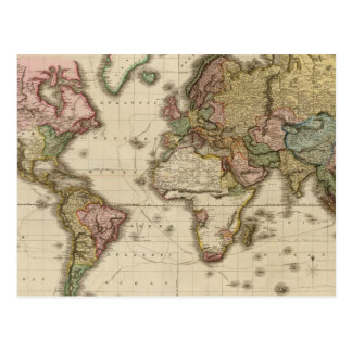 The World on Mercator's projection Postcard