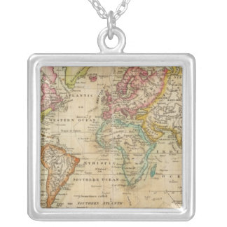 The World on Mercator's Projection Silver Plated Necklace
