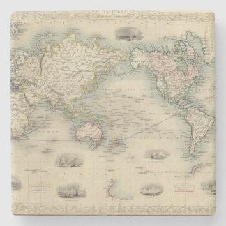 The World On Mercator's Projection Stone Coaster