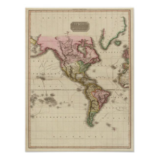 The World on Mercator's projection, western part Print