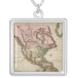 The World on Mercator's projection, western part Silver Plated Necklace