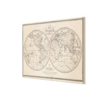 The World on the Globular Projection Canvas Print
