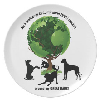 The World Revolves Around My Great Dane Dinner Plates