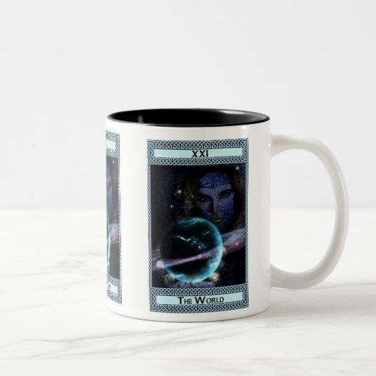 The World Tarot Card Art Two-Tone Coffee Mug