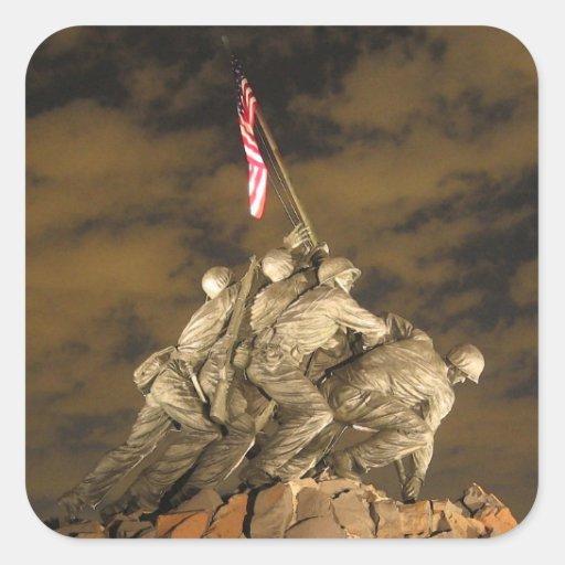 The World War II Iwo Jima Memorial Arlington VA Square Sticker