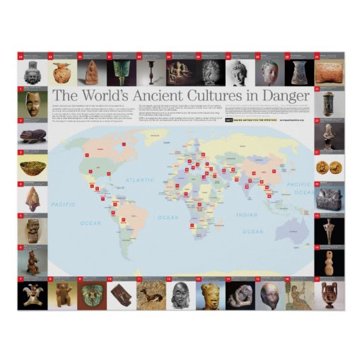 The World's Ancient Cultures in Danger map Print