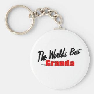 The World's Best Granda Basic Round Button Keychain