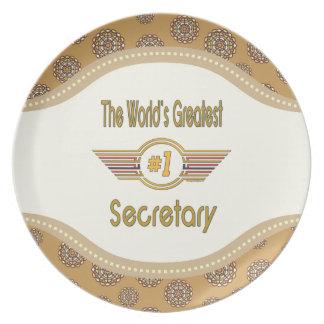 The World's Best Number One Secretary Melamine Plate