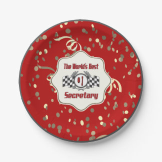 The World's Best Number One Secretary Paper Plate