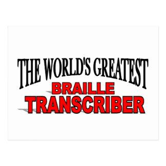 The World's Greatest Braille Transcriber Postcard