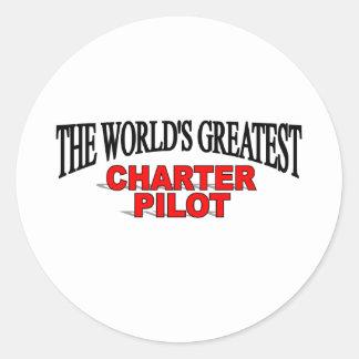The World's Greatest Charter Pilot Classic Round Sticker