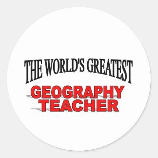 The World's Greatest Geography Teacher Classic Round Sticker