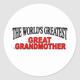 The World's Greatest Great Grandmother Classic Round Sticker
