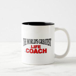 The World's Greatest Life Coach Two-Tone Coffee Mug