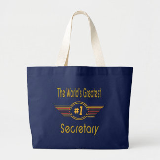 The World's Greatest Number One Secretary Large Tote Bag
