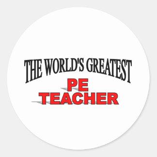 The World's Greatest PE Teacher Classic Round Sticker