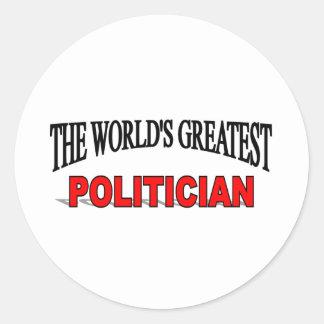 The World's Greatest Politician Classic Round Sticker
