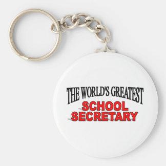 The World's Greatest School Secretary Basic Round Button Keychain