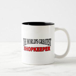 The World's Greatest Shopkeeper Two-Tone Coffee Mug