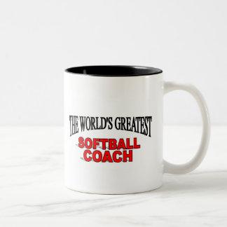 The World's Greatest Softball Coach Two-Tone Coffee Mug