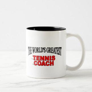 The World's Greatest Tennis Coach Two-Tone Coffee Mug
