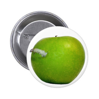The worm in the apple pinback button