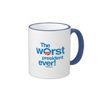 The worst president ever ringer coffee mug