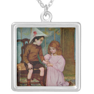 The Wounded Knight Square Pendant Necklace