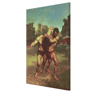 The Wrestlers, 1853 Canvas Print