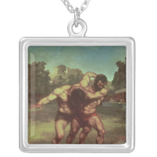 The Wrestlers, 1853 Silver Plated Necklace