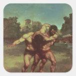 The Wrestlers, 1853 Square Sticker