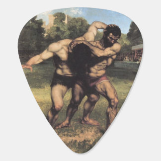 The Wrestlers by Gustave Courbet Guitar Pick