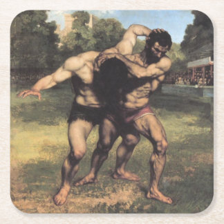 The Wrestlers by Gustave Courbet Square Paper Coaster