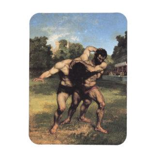 The Wrestlers Rectangular Photo Magnet