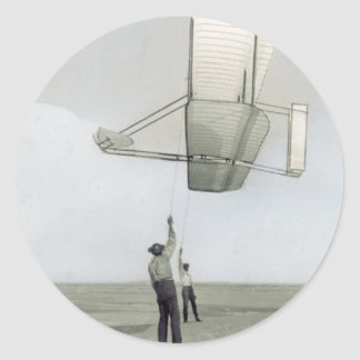 The wright brothers glider flyer classic round sticker