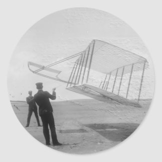 The Wright Brothers test flight Classic Round Sticker