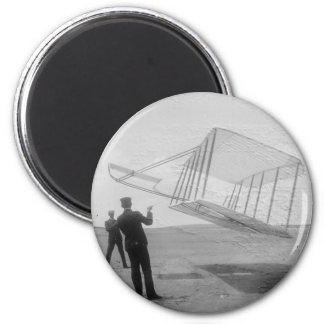 The Wright Brothers test flight 2 Inch Round Magnet