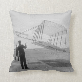 The Wright Brothers test flight Throw Pillow
