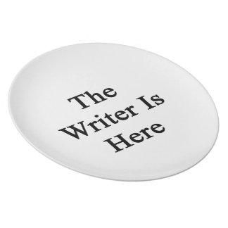 The Writer Is Here Dinner Plates