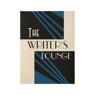The Writer's Lounge Stylish Art Blue Black White Wood Poster