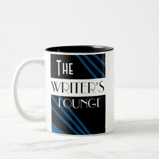 The Writer's Lounge Stylish Blue Black White Two-Tone Coffee Mug
